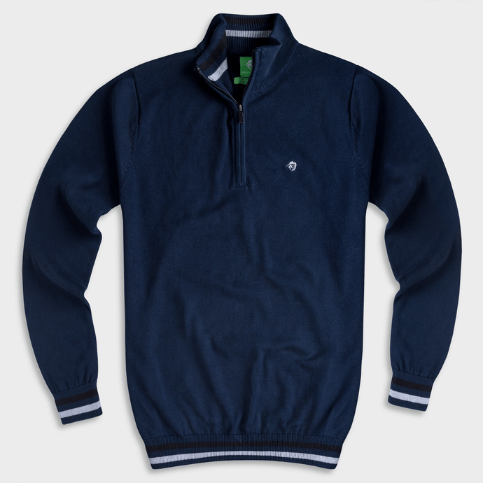 Navy Mock Neck Half Zipper Pullover