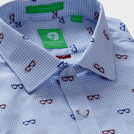 Blue Trendy Spectacle Motif Shirt