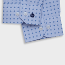 Light Blue Melange Trendy Printed Shirt