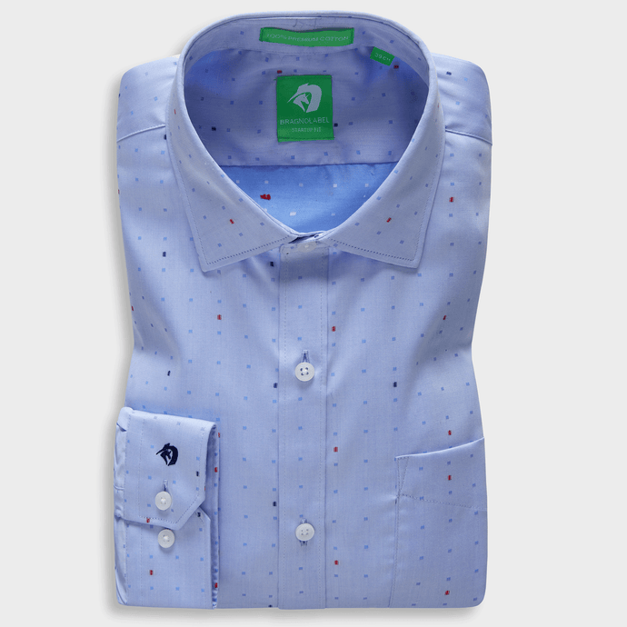 Blue Trendy Motif Shirt