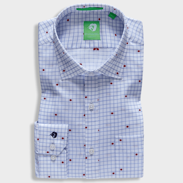 Blue Check Motif Shirt