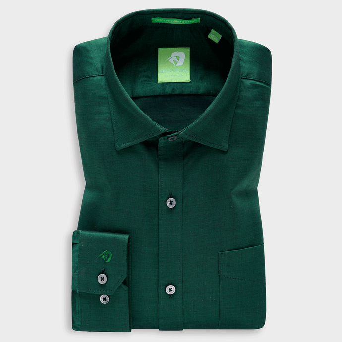 Premium Dark Green Festive Solid Shirt