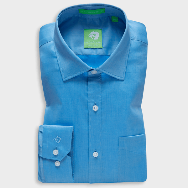 Premium Turquoise Blue Supima Chambray Shirt