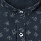 Navy Leaf Printed Shirt (Mandarin Collar)