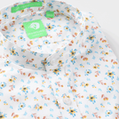 White Flower Printed Shirt (Mandarin Collar)