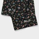 Black Flower Printed Shirt (Mandarin Collar)