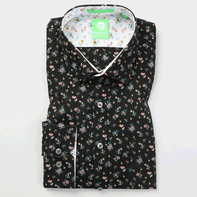 Black Flower Printed Shirt