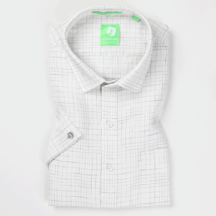 Grey & White Linen Graded Check Shirt (Half Sleeves)