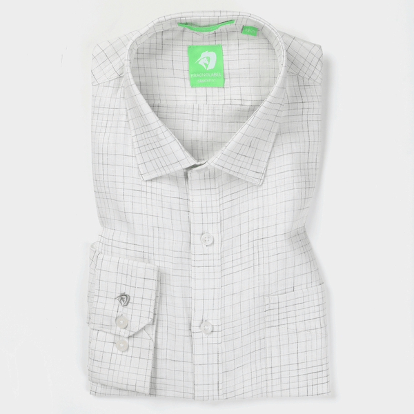 Grey & White Linen Graded Check Shirt