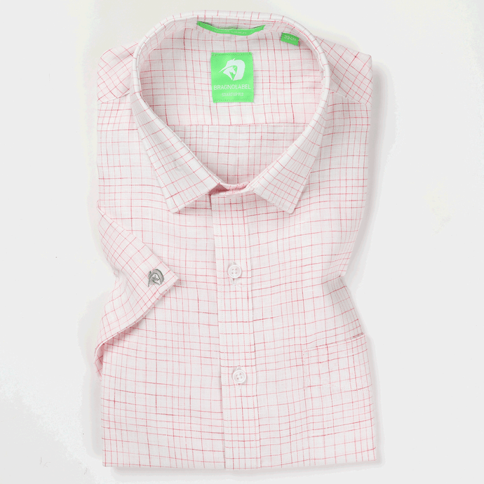 Pink & White Linen Graded Check Shirt (Half Sleeves)