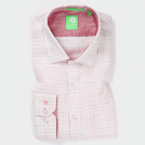Pink & White Linen Graded Check Shirt