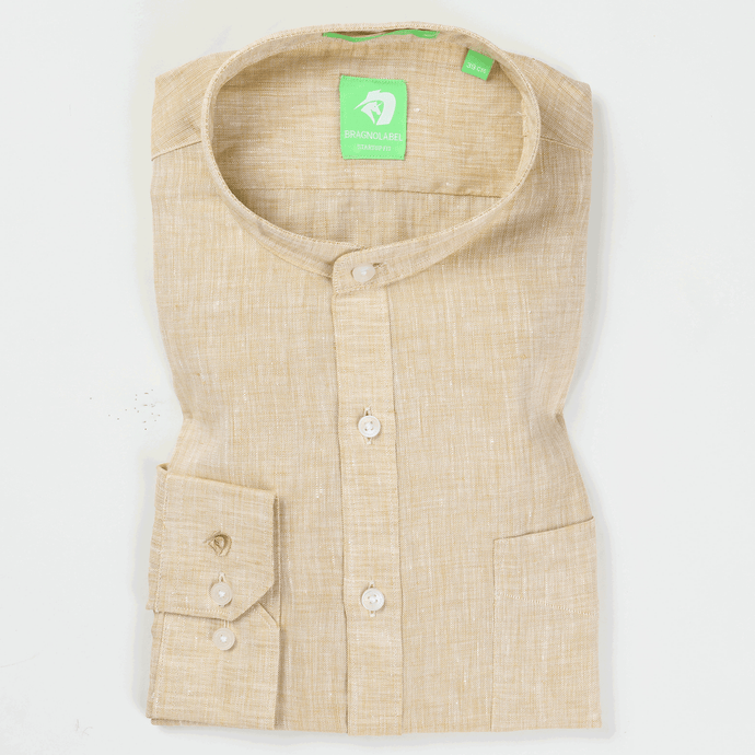 Natural Linen Solid Shirt (Mandarin Collar)