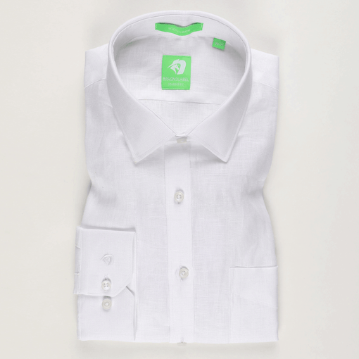 White Linen Solid Shirt