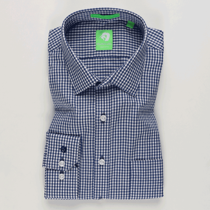Mid Blue Gingham Check Shirt