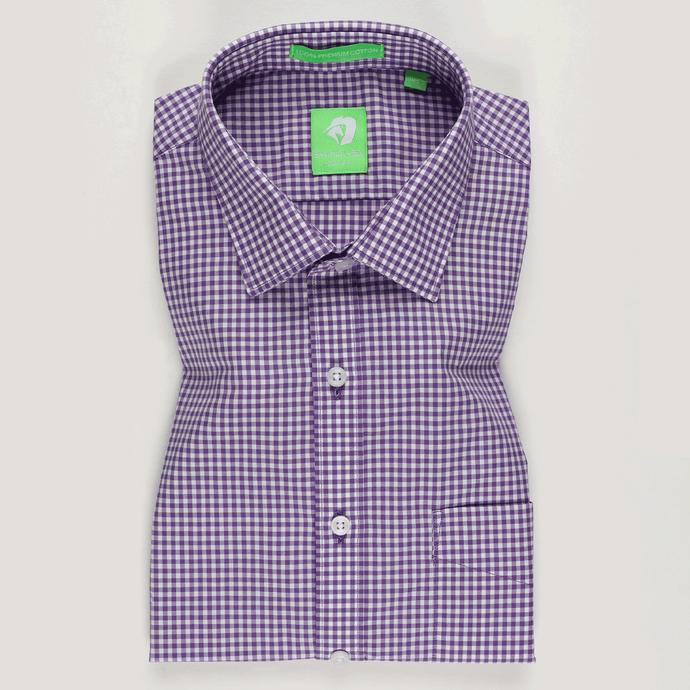 Purple Gingham Check Shirt (Half Sleeves)