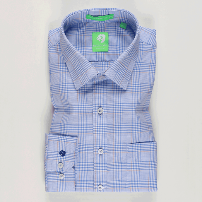 Light Blue Fashion Check Shirt