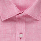 Pink Linen Solid Shirt (Half Sleeves)
