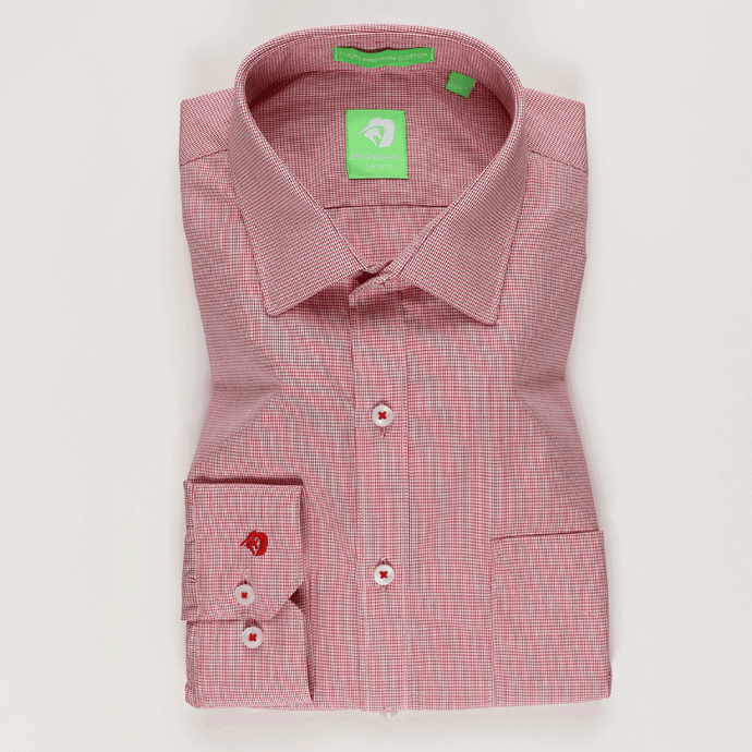 Red Micro Check Shirt