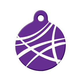 Abstract Purple Swoosh Circle Pet ID Tag