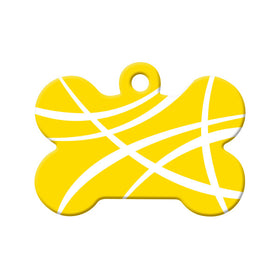 Abstract Yellow Swoosh Bone Pet ID Tag