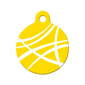 Abstract Yellow Swoosh Circle Pet ID Tag
