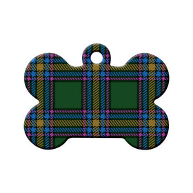Alberta Tartan Pattern Bone Pet ID Tag