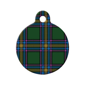 Alberta Tartan Pattern Circle Pet ID Tag
