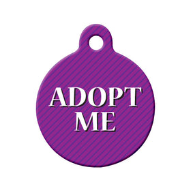 Adopt Me Purple Striped Design Circle Pet ID Tag