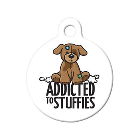 Addicted to Stuffies Circle Pet ID Tag