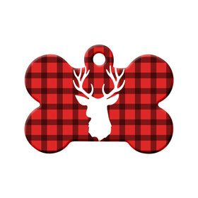 Rustic Antlers & Lumberjack Plaid Bone Pet ID Tag