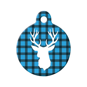 Rustic Antlers & Lumberjack Plaid Circle Pet ID Tag