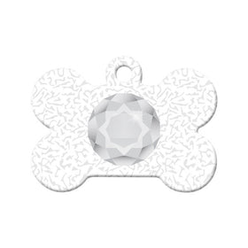 April Birthstone Design Bone Pet ID Tag