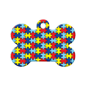 Autism Awareness Puzzle Design Bone Pet ID Tag