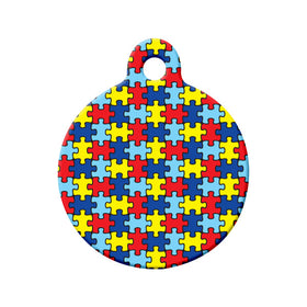 Autism Awareness Puzzle Design Circle Pet ID Tag