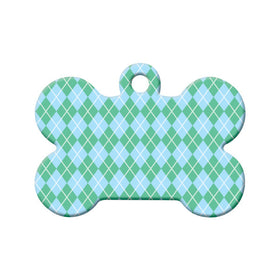 Argyle Green/Blue Pattern Bone Pet ID Tag