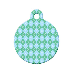 Argyle Green/Blue Pattern Circle Pet ID Tag