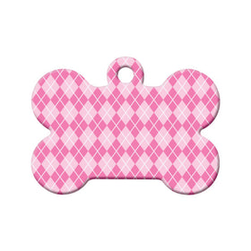 Pink Argyle Pattern Bone Pet ID Tag