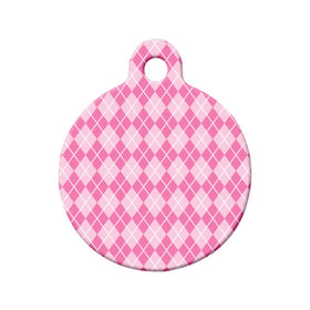 Pink Argyle Pattern Circle Pet ID Tag