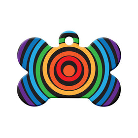 Rainbow Circles Bone Pet ID Tag