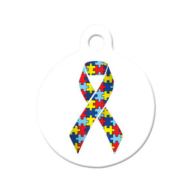 Autism Awareness Ribbon Circle Pet ID Tag