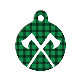 Rustic Axes & Lumberjack Plaid Circle Pet ID Tag