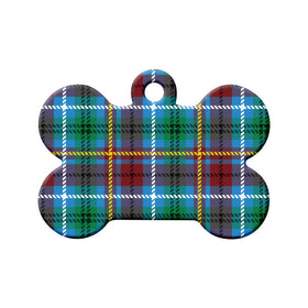 British Columbia Tartan Pattern Bone Pet ID Tag