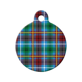 British Columbia Tartan Pattern Circle Pet ID Tag