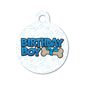 Birthday Boy Circle Pet ID Tag