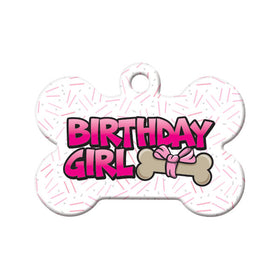 Birthday Girl Bone Pet ID Tag