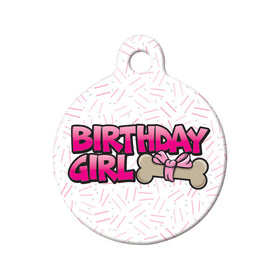 Birthday Girl Circle Pet ID Tag