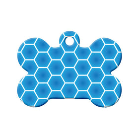 Blue Honeycombs Pattern Design Bone Pet ID Tag
