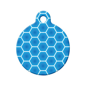 Blue Honeycombs Pattern Design Circle Pet ID Tag