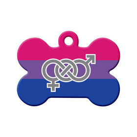 Bisexual Flag & Symbol  Bone Pet ID Tag