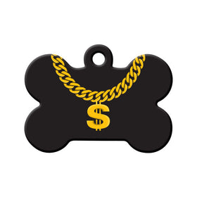 Gold Chain Design Bone Pet ID Tag